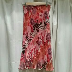 Tropical Floral Silk Midi Skirt